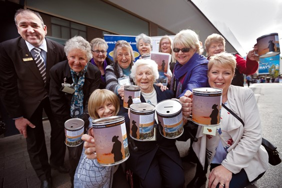 Phoebe Parker (centre) and her female comrades-in-arms doing their part to raise money to put towards Frankston's proposed new war memorial. Picture: Yanni