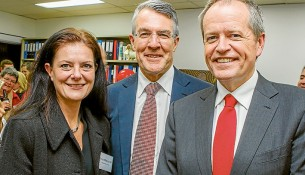Labor comrades: Carrum MP Sonya Kilkenny, Isaacs MP Mark Dreyfus and Opposition Leader Bill Shorten at the opening of the Isaac MP's new office. Picture: Gary Sissons