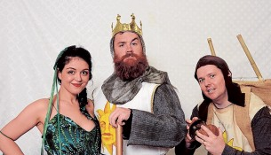 Light hearted: Lady of the Lake (Lisa Nightingale), King Arthur (Sam Marzden) and Patsy (Nick Rouse) will star in Spamalot. Picture: Trevor Lowther