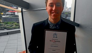 Role model: Daniel Benjamin received a Premier's Award in English at the Melbourne Convention and Exhibition Centre.