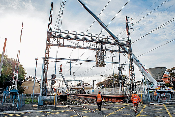 Track works: Frankston line commuters will soon regularly see engineering works at level crossings as part of grade separation projects. Picture: Gary Sissons