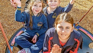 Hope for the future: Yarrabah School principal Matthew Harris and, clockwise, student voice leaders Ben, Catherine and Sarah hope the school for special needs children will have its portable classrooms replaced. Picture: Gary Sissons