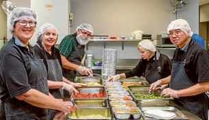 Meals on Wheels Frankston. L-R Barbara Bahr, Denise Keeley, Ken Berry, Rose Van De Putten and Nelson Poon preparing meals for the day.