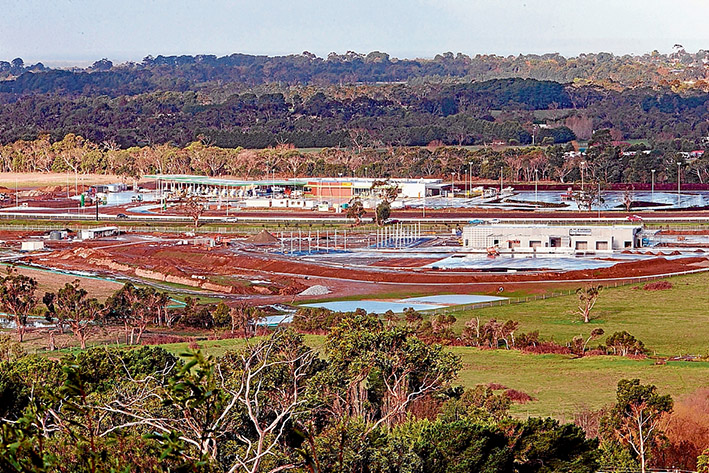 """Wedge servos: The controversial freeway service centres on Peninsula Link at Baxter. The southbound one, top, is set to open this week and its northbound """"twin"""" with its own wetlands will be ready by December. Picture: Gary Sissons"""