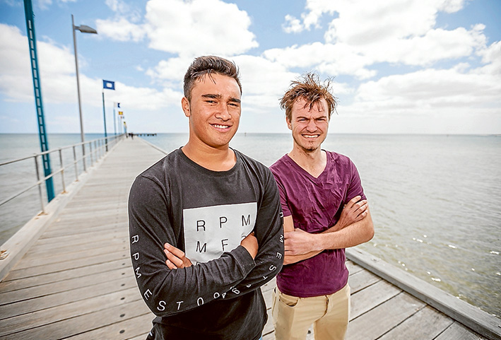 Action stations: Rescuers Jarrah Brown and Albert Ward visit the scene of the near-drownings off Frankston pier. Picture: Yanni