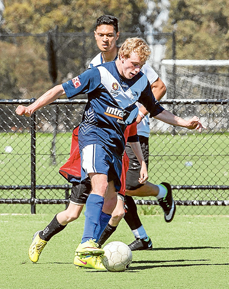 Team effort: Matthew Holland, left, and his Victorian Paralympic Football teammates, below, represented the state at the National Paralympics 7-a-side Football Championships at Coffs Harbour. Pictures: Gary Sissons
