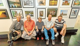 Pictured are club members Peter Dwyer, left, Darryl Oates, Rose Burns, Max Lane and Jeff Symons. Picture: Yanni