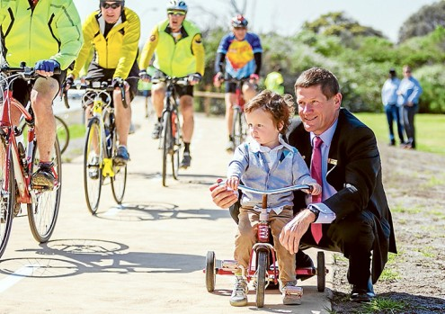 On their bikes: Kingston mayor Cr Geoff Gledhill and grandson Beau were among the first to take to the Trail. Picture: Yanni