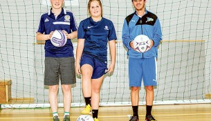 Round ball futures: Brandon Smith, Chelsea Ford and Mitchell Ball.  Picture: Yanni