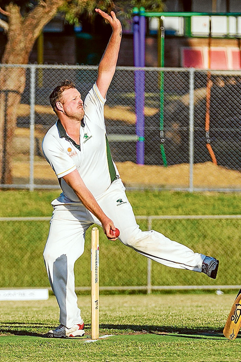 Bowling action: Carrum Downs took the battle to Ballam Park. Picture: Andrew Hurst