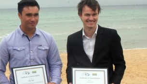 Heroes honoured: Alby Ward, 19, of Seaford, and Jarrah Brown, 23, of Glen Waverley, with their Everyday Lifesaver Awards from Life Saving Victoria.