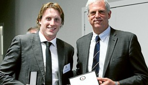 Young gun: Matson Lawson (class of 2010) was the youngest former Peninsula School student inducted into the hall of fame, and received his award from TOPSA committee member Lachlan Patton. Lawson represented Australia in backstroke at the 2012 London Olympics and won his first Australian title in the 200m backstroke in 2013. Picture supplied.