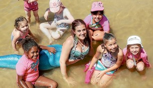 Splash! - Children enjoyed swimming with a mermaid off Frankston beach at the weekend as part of the annual Frankston Waterfront Festival. Pictures: Gary Sissons