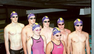 """Water world: Corey Snyders, 19, Adam Howgate, 18, Harry Waterfall, 16, Tom Cook, 19, Roman Nestoriwskyj, 16, Sarah Bresanahan, 18 and Makayla Young, 17 after training with the Mornington/Frankston Club """"Flyers""""."""
