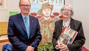 Lest we forget: State Secretary of ANZAC House Michael Annett with artist and author Julia Gross McAdam at the official launch of a book dedicated to the lives of Chelsea district men who answered the call to go to war during World War I. Picture: Yanni