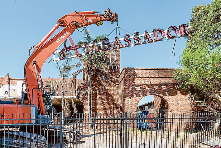 Sign of demolition: Wreckers move in to demolish the former Ambassador Hotel function centre earlier this year.  Picture: Gary Sissons