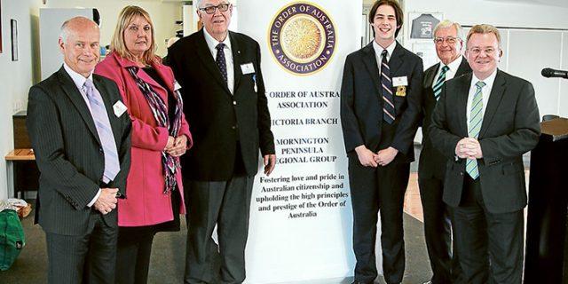 Award for excellence: Frankston High School principal John Albiston, left, Frankston High School senior campus principal Helen Wilson, Allan Pizzey AM (Order of Australia Association), Reece Pellow, Brian Stahl OAM (Order of Australia Association) and Bruce Billson.