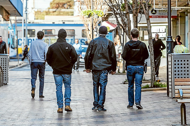Crime crackdown: Shadow Taskforce police patrol Frankston last month as part of an operation to get tough on offenders. Picture: Gary Sissons