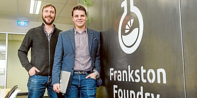 Start 'em up: A NEW business start-up to help start-ups officially opened its doors in Frankston's Wells St last week. Frankston Foundry co-founders James Bertschik, left, and Cam Rambert are putting the call out to entrepreneurs and the self-employed to rent office space and tap in to fellow start-up owners' experiences in establishing a viable business. Picture: Gary Sissons