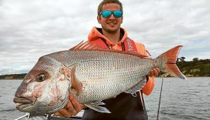 The Wright stuff: Jonny Wright with a 95cm snapper he landed at Mount Martha